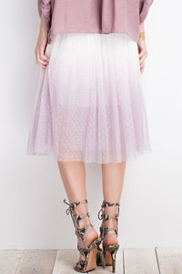 Mauve Dot Mesh Layered Ombre Midi Skirt