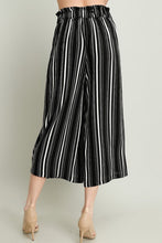 Black Elastic Loose Fit Straps Stripe Pants