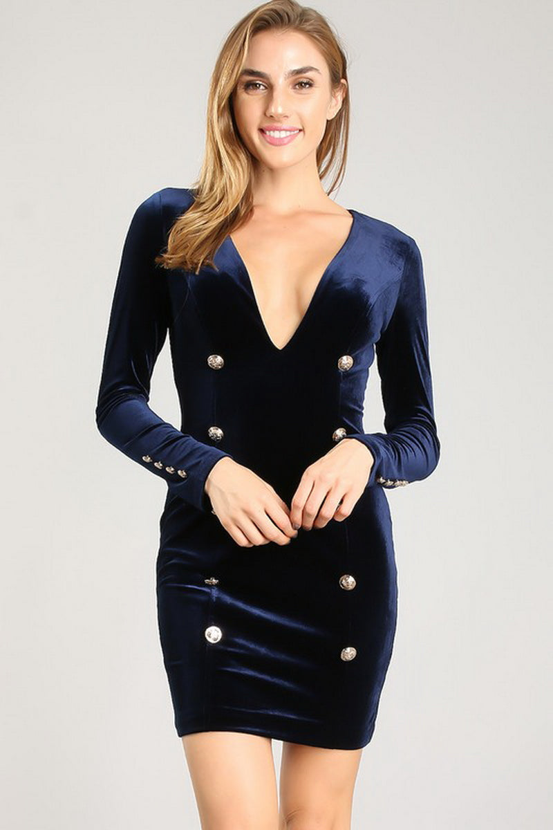 Navy Button Detail Velvet V-Neck Short Dress
