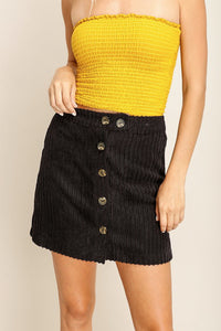 Black Buttoned Sweater Skirt