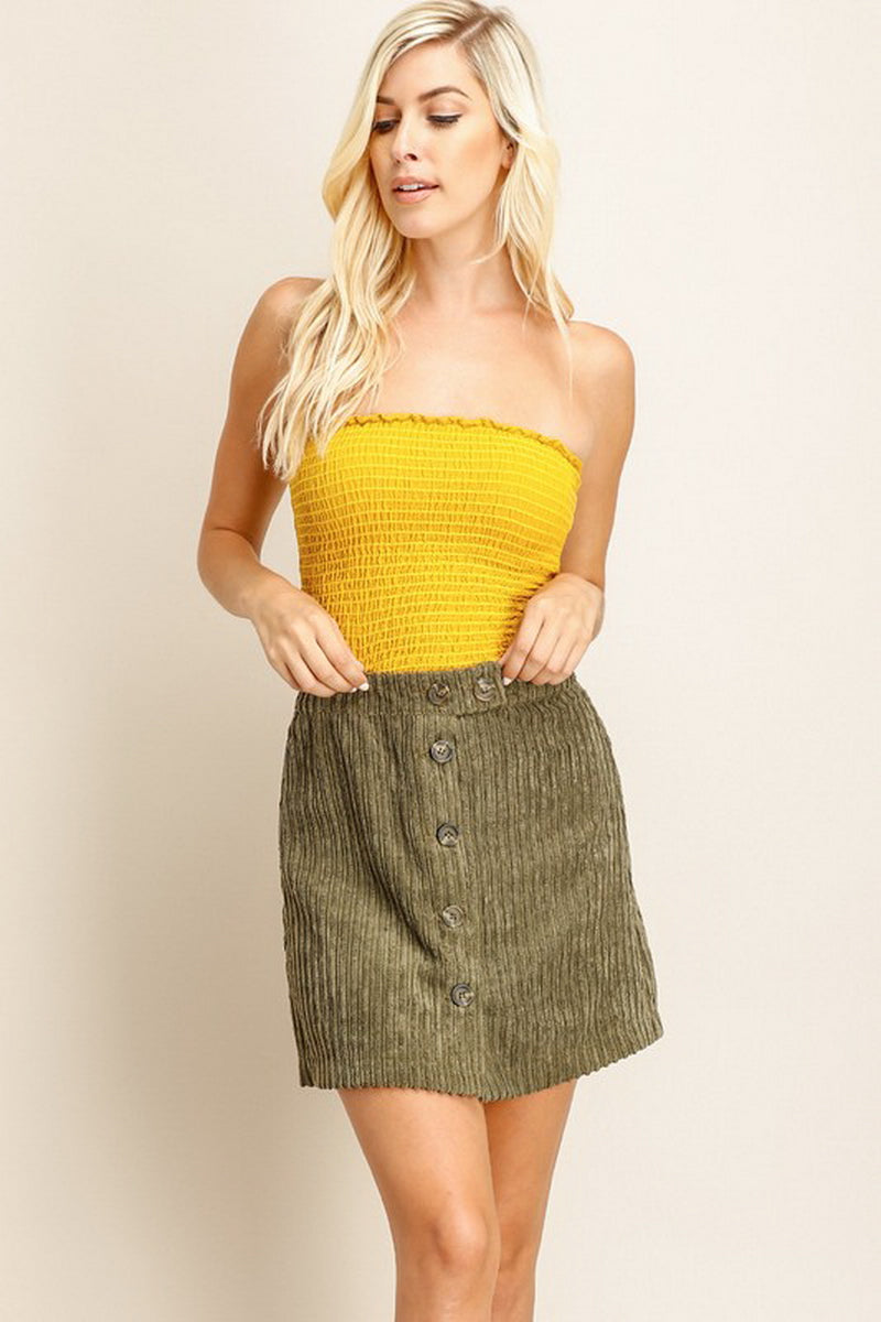 Olive Green Buttoned Sweater Skirt