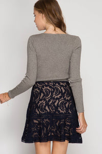Black Ruffled Hem Lace Trumpet Mini Skirt