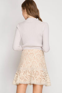Beige Ruffled Hem Lace Trumpet Mini Skirt