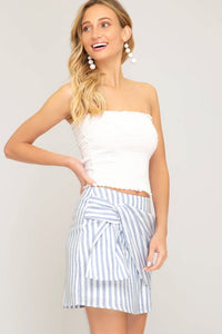 Blue Stripe Woven Mini Skirt