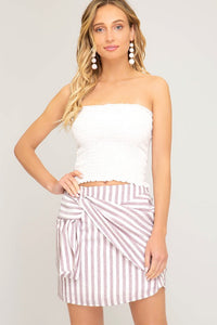 Pink Stripe Woven Mini Skirt