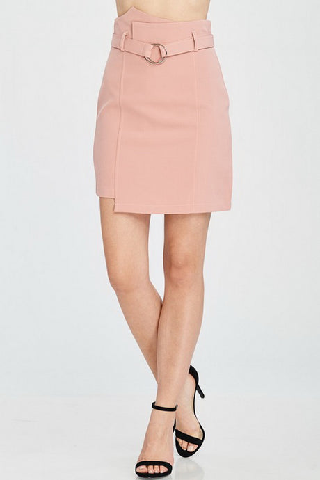 Blush High Waist Solid Skirt With Belt