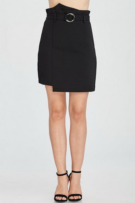 Black High Waist Solid Skirt With Belt