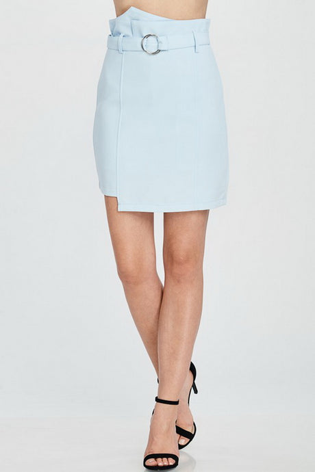 Sky Blue High Waist Solid Skirt With Belt