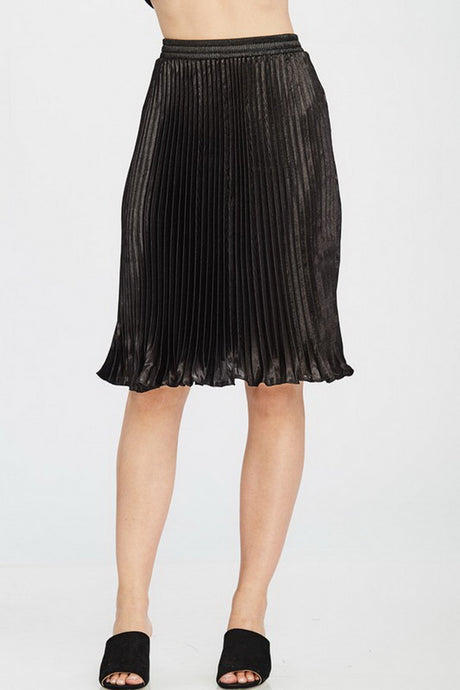 Black Solid Pleated Satin Midi Skirt