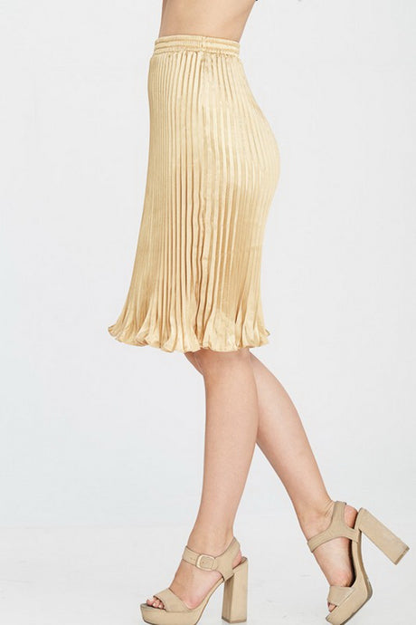Gold Solid Pleated Satin Midi Skirt