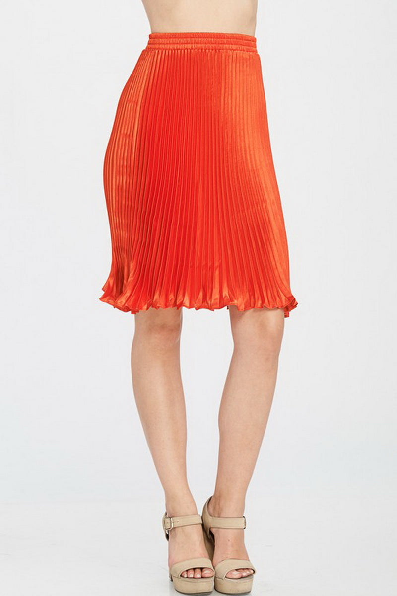 Red Solid Pleated Satin Midi Skirt