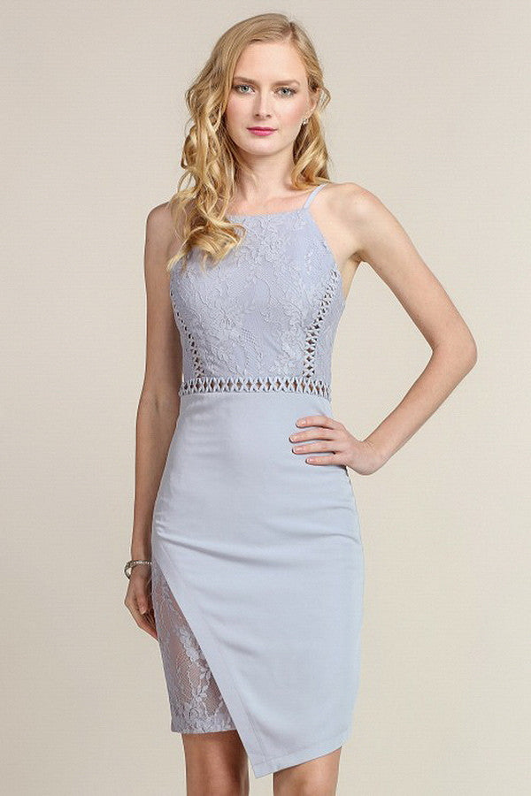 Blue Grey Asymmetrical Hem with Lace Insert Short Dress