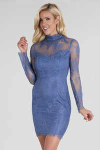 Beaded High Neck Long Sleeve Lace Dress