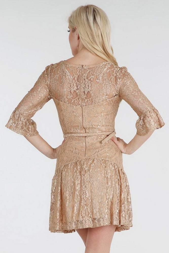 Belted Metallic Gold Lace Dress