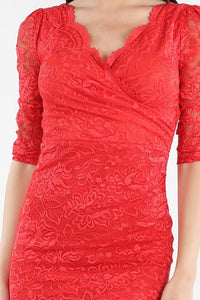 Red Surplus Front Neck Lace Dress
