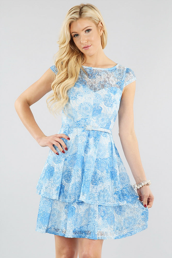 Two-Layered Skirt Dress With Belt