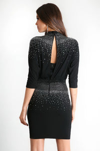 Black Hot Fix Blouson Dress