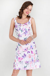 Purple Foil Flower Printed Dress