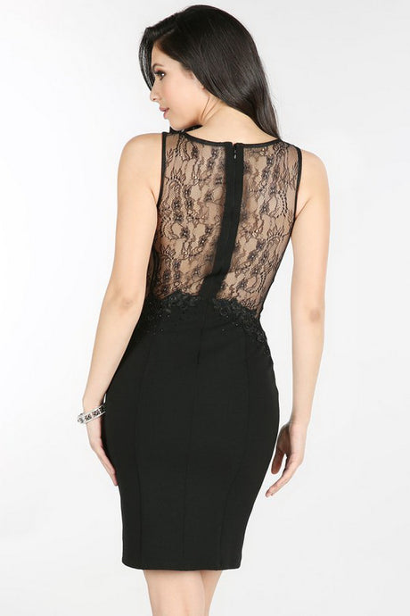 Black Sheer Lace Side-Back Cocktail Dress