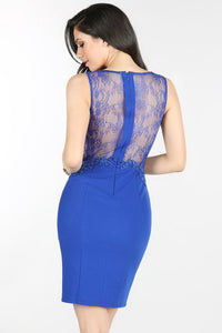 Royal Blue Sheer Lace Side-Back Cocktail Dress