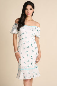 Light Blue Puff Sleeve Floral Embroidered Midi Dress