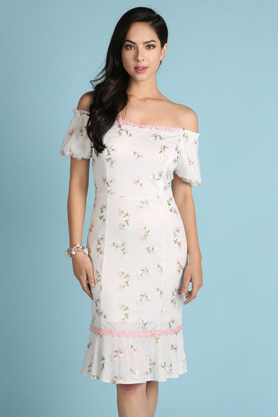 Light Pink Puff Sleeve Floral Embroidered Midi Dress