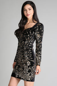 Gold Sequins Embroidery Velvet Cocktail Dress