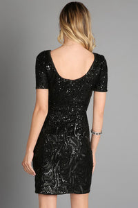 Black Sequins Embroidery Cocktail Dress