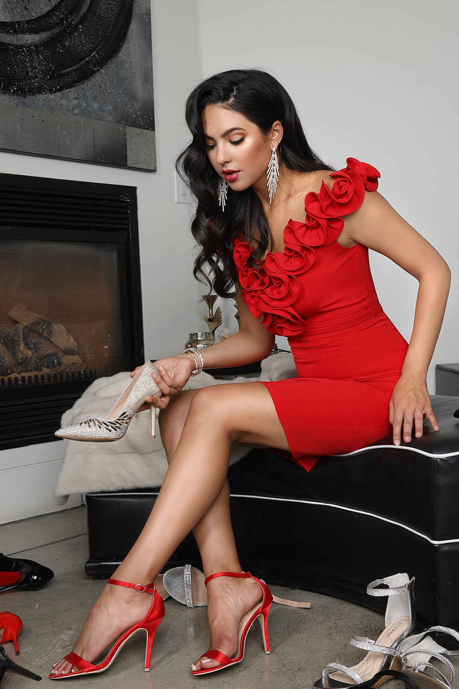 Red Rose V Neck Cocktail Dress