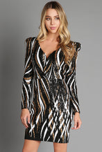 Black And White Gold Wavy Spiral Sequins Dress