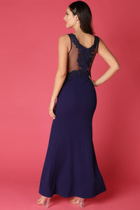 Navy Sheer Contrast Rhinestone Embellished Gown