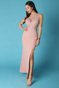 Pink Taupe Sheer Contrast Rhinestone Embellished Gown