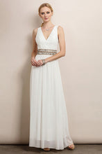 White Classic Lace Top Belt Line Detail Maxi Dress