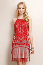 Red Fringe Unique Pattern Dress