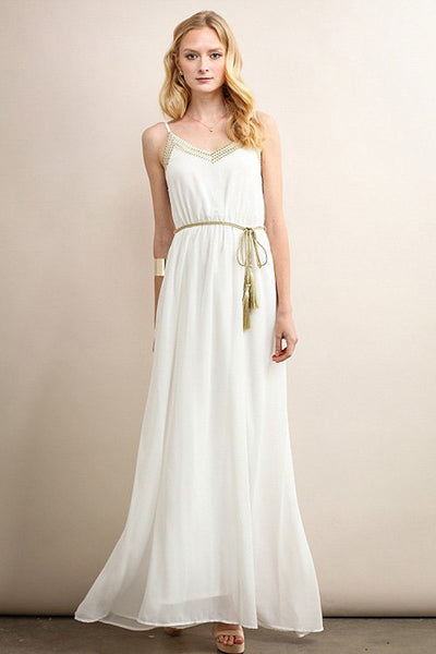 Ivory Gold Triangle Stitching Detail With Rope Belt Maxi Dress