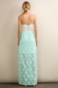 Two Colors Long Floral Strapless Lace Dress