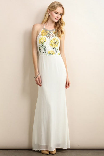 Ivory Colorful Flower Mesh Top Maxi Dress