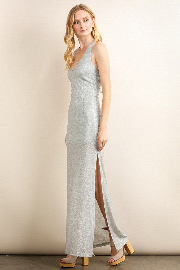 Silver Shimmery Sequin Maxi Dress