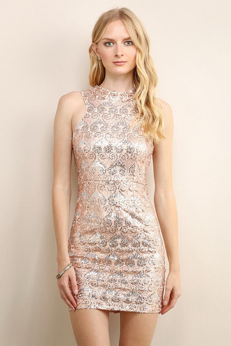 Gold Shimmery Unique Pattern Sequin Dress