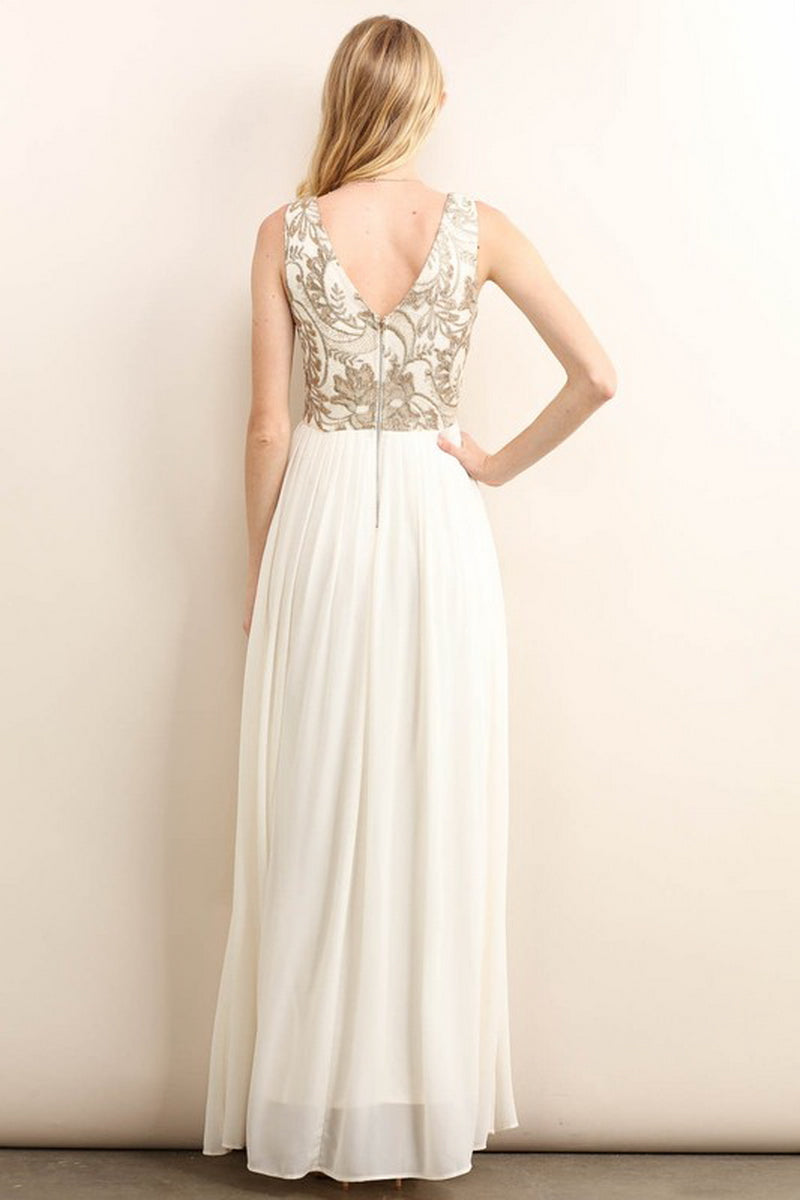 Gold Sequin Embroidery Maxi Dress