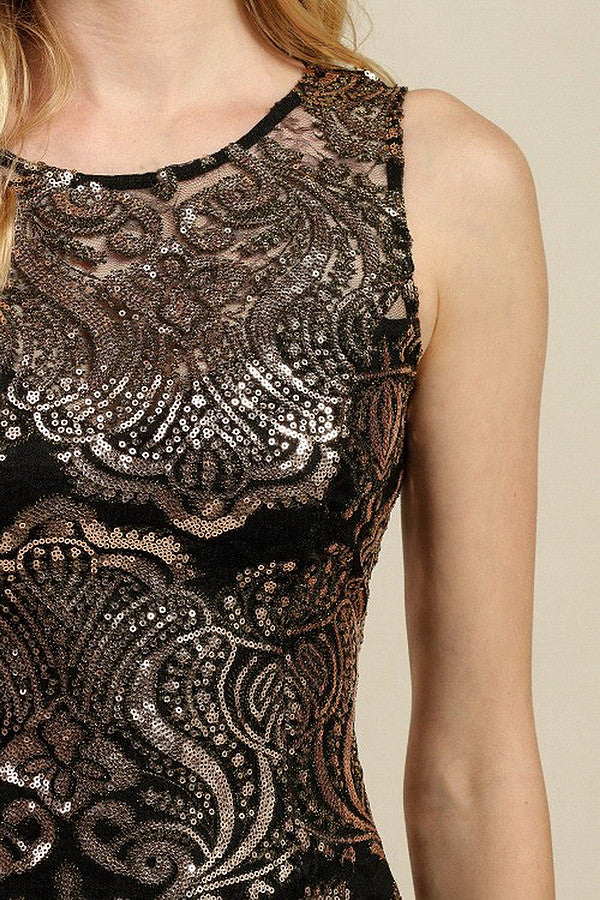 Gold Sequin On Black Lace Dress