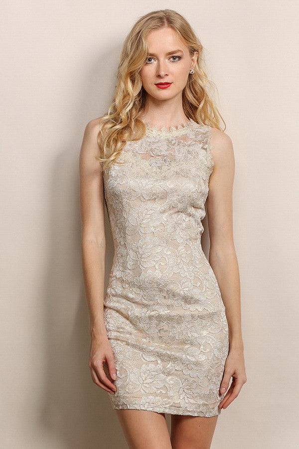 Light Gold Lace Opening Back Cocktail Dress
