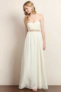Round Bead Strapless Flared Maxi Dress