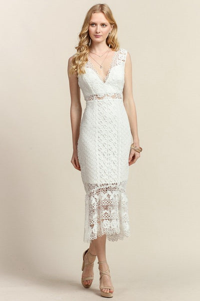 Ruffled Hem V-Neck Lace Midi Dress