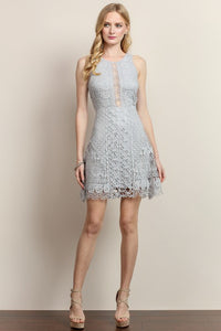 Butterfly And Flower Detailed Lace Dress