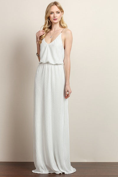 Jewel Beaded Criss Cross Chain Maxi Dress