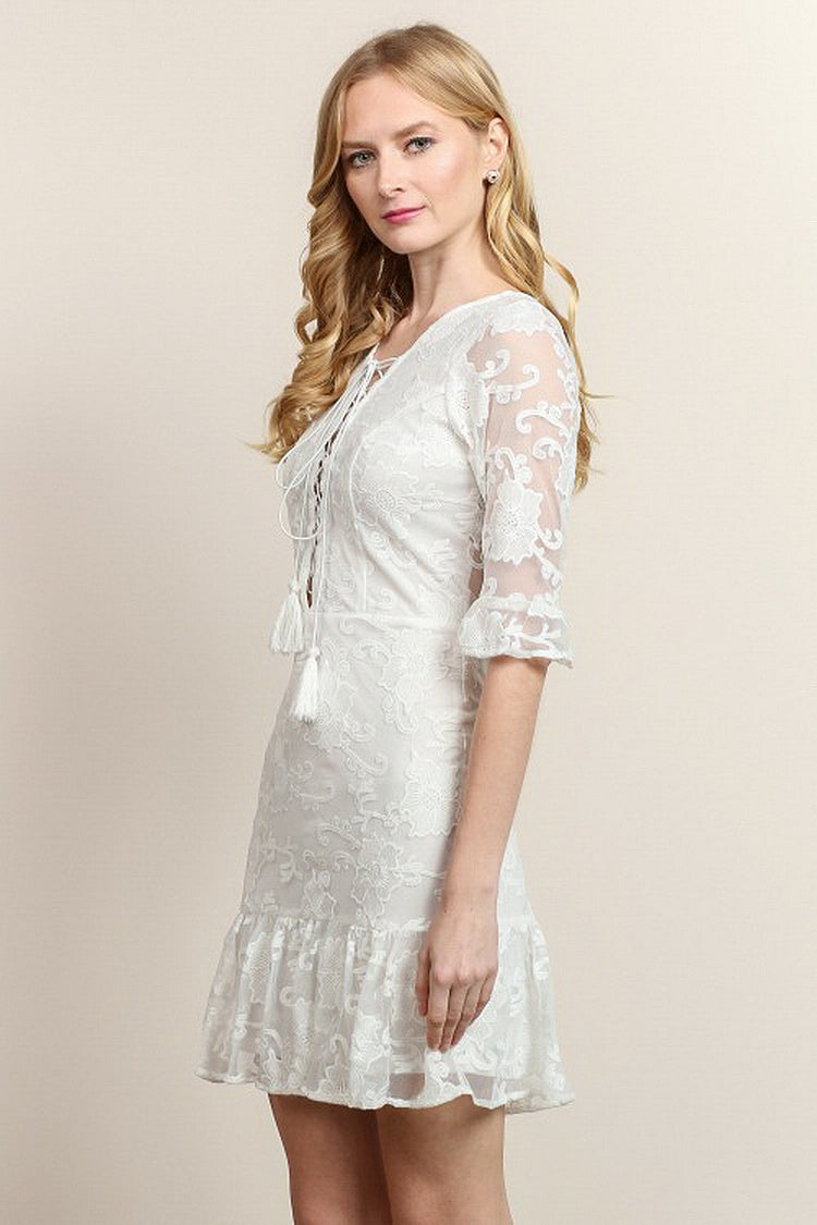 Half Sleeve Mesh & Lace Ruffle Hem Short Dress