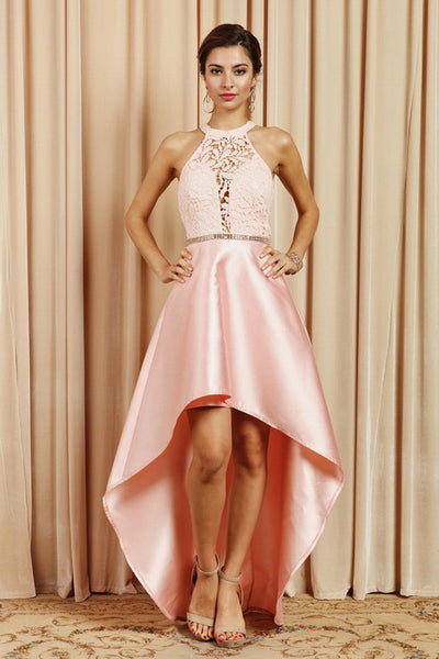 Blush Hi-Lo Flare Asymmetrical Hem Dress