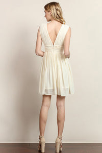 V Top Chiffon Short Dress