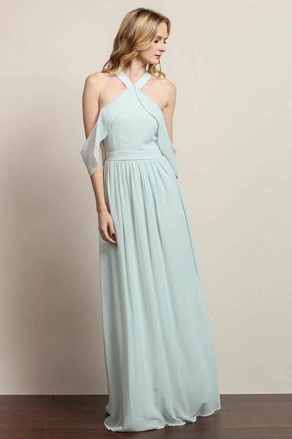 Light Mint Off-Shoulder Ruffle Maxi Dress